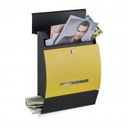Poštni nabiralnik Design z režo za časopis, črno-rumen