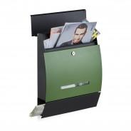Poštni nabiralnik Design z režo za časopis, črno-zelen