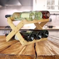 Stojalo za 6 steklenic X Design natur, bambus
