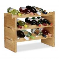 Zložljiv vinski regal za 18 steklenic, bambus