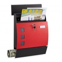 Poštni nabiralnik polkrožni z režo za časopis, črno rdeč