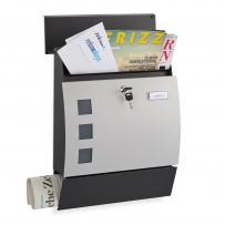 Poštni nabiralnik polkrožni z režo za časopis, črno siv