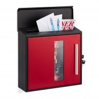Poštni nabiralnik Post Design z okencem, črno-rdeč