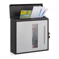 Poštni nabiralnik Post Design z okencem, črno-siv