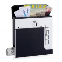 Poštni nabiralnik Modern Post z režo za časopis, črno-bel